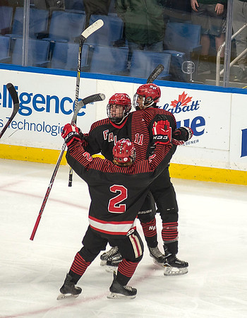James Neiss/staff photographer <br /> Buffalo, NY - Teammates celebrate with Niagara-Wheatfield hockey player #11Chance Woods after scoring in the first period against Williamsville North during a sectional playoff game at KeyBank Center.