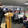 Roger Schneider | The Goshen News<br /> Goshen Mayor Jeremy Stutsman asks for a show of hands from audience members who have donated money to a charity or volunteered during the past year.