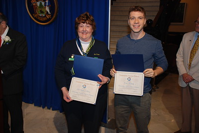 Exemplary Service Award recipients Suzanne Hand (Girl Scouts of Maine, Outstanding Nonprofit Volunteer Program) and Colin Korlesky (Outstanding National Service Member)