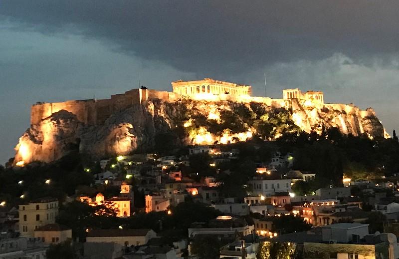 Acropolis, Athens, view from our hotel restaurant