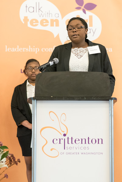 Crittenton Teen, Ijeoma, 9th Grade, talks to the audience about what they can do to stop sexual harassment.