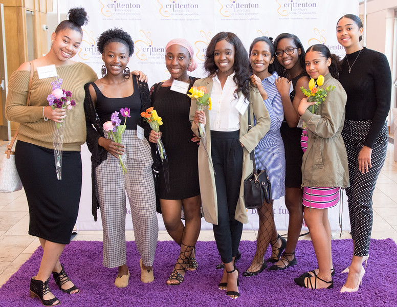 "Crittenton Teens celebrate on the ""purple"" carpet, after the High Tea."