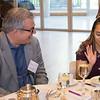 Peter Kovar, Crittenton Board member, speaks with McBride/Kovar Scholarship Winner, Ingrid Carranza