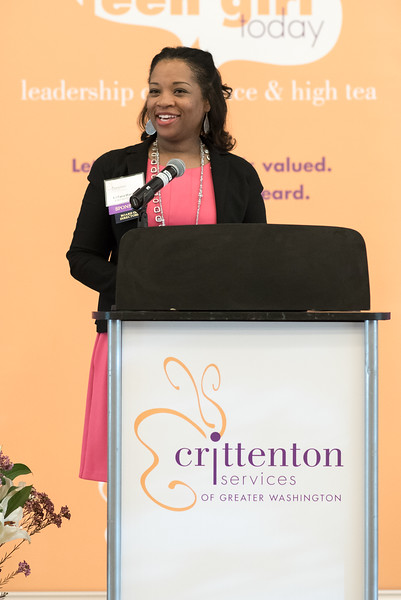 The High Tea kicks off by introducing Crittenton's new Board Chair, LaTara Harris from AT&T.