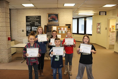 At back from left is Kyra Lichtenfels, Lauren Bogle and Sophia Darby.  At front from left is Sienna Weaver, Steven Bott and Tatum Wesneski.  Not pictured are Madison Betts and Elijah Bechtol. (Lycoming Valley Intermediate School)