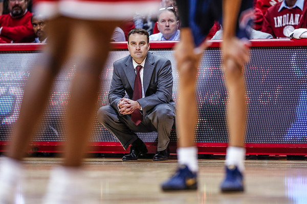 Head Coach Archie Miller sits court side during Indiana's game against Howard University on Sunday. Indiana beat Howard 86-77.