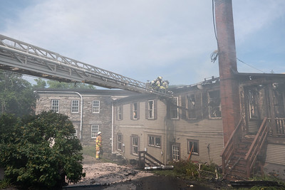 39 The rear of the fire building where the pair of apartments were located