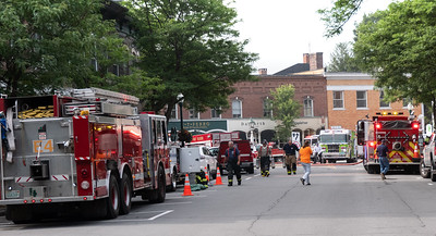 24 Emergency vehicles were all through the downtown Monday morning from Central to Elm Streets