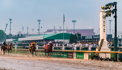At The Finish Line. Justify Wins The 144th Running Of The Kentucky Derby