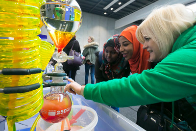 07/03/2018. Waterford Institute of Technology Labatory Sciences Careers Day at The Arena. Pictured is Sheila Donegan WIT and Nasteexa Maxamed and Duaa Salah at the SEAM chemical display. Picture: Patrick Browne