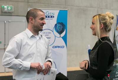 07/03/2018. Waterford Institute of Technology Labatory Sciences Careers Day at The Arena. Pictured are Ken O'Shea from EirGen Pharma and Laura Connolly. Picture: Patrick Browne