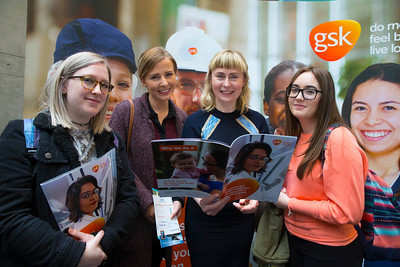 07/03/2018. Waterford Institute of Technology Labatory Sciences Careers Day at The Arena. Pictured are Jordan Shanahan, Emily O'Dwyer, Melanie White of GSK, Dungarvan Learning and Development Manager and Michelle Jordan. Picture: Patrick Browne