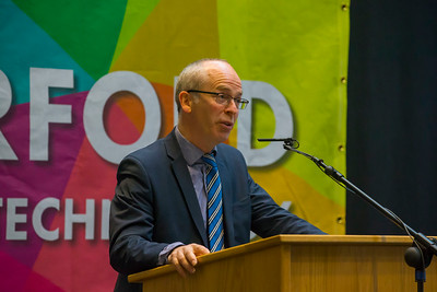 07/03/2018. Waterford Institute of Technology Labatory Sciences Careers Day at The Arena. Pictured is Dr. Peter McLoughlin during his address. Picture: Patrick Browne