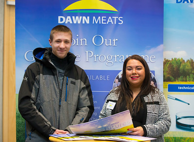 09/03/2018.  Land Sciences Careers Day. Waterford Institute of Technology and Teagasc marked 40 years of partnership at a Land Sciences Careers event for WIT students at the WIT Arena. The programmes the two collaborate on span right across the board from agrifood, to forestry, and horticulture.  Pictured are Patrick Zhemerdyey WIT Student and Pamela Walsh, Dawn Meats. Picture: Patrick Browne