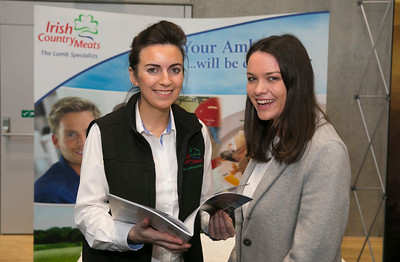 09/03/2018.  Land Sciences Careers Day. Waterford Institute of Technology and Teagasc marked 40 years of partnership at a Land Sciences Careers event for WIT students at the WIT Arena. The programmes the two collaborate on span right across the board from agrifood, to forestry, and horticulture.  Pictured are Dearbhala Casey from Irish County Meats and Alison Daly WIT Student  . Picture: Patrick Browne
