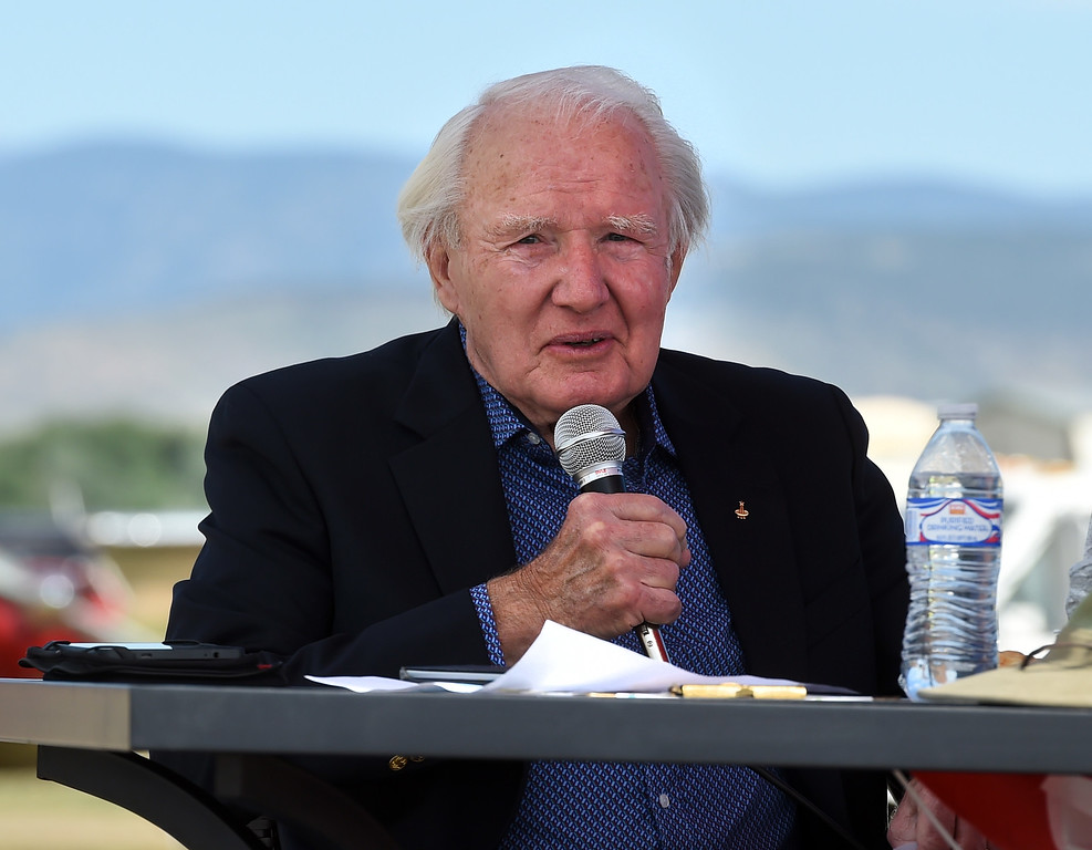 . Former astronaut Vance Brand, the airport�s namesake, born in Longmont, talks to a gathering during the 2018 Longmont Airport Expo at Vance Brand Airport on Saturday. For more photos, go to dailycamera.com. Cliff Grassmick  Staff Photographer  June 23, 2018