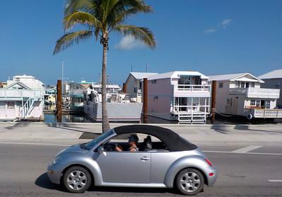 Houseboats docked in Key West Florida & VW Beetle