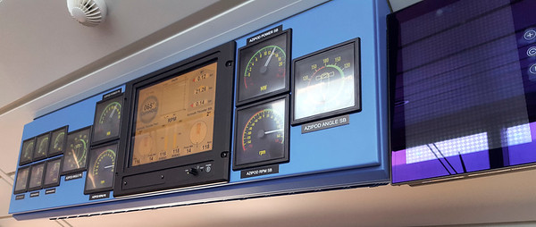 Some of the gauges on the bridge
