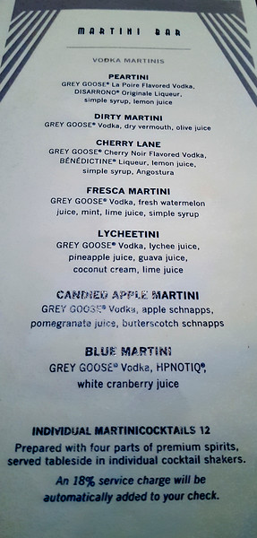 Page 2 of the martini bar options.