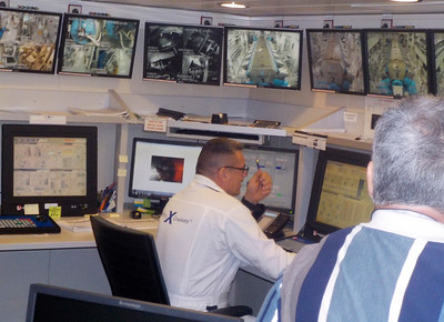 Chief engineer in the engine control room