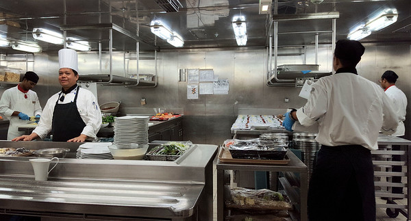 The appetizer preparation area in one area of the kitchen