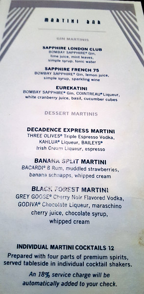 page one of two of the martini bar options