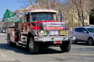 The boys hockey team got a fire truck parade through the village on Tuesday, courtesy of the Woodstock Fire Department_Greg Greene Photo
