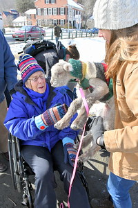 USE_DSC_1159 jennifer Brock, of woodstock,,gets to hold a lamb  paraded by Cille Meberg at right of Billings Farm