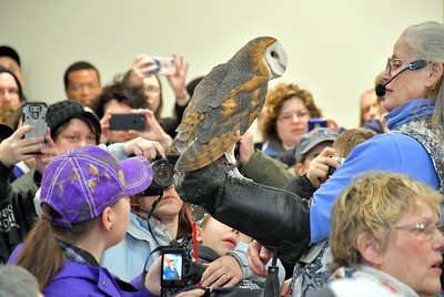 DSC_5387 Marcia Wilson,,,of Eyes on Owls from MA, ,,,,guest speaker,,gives talk about owls from around the world