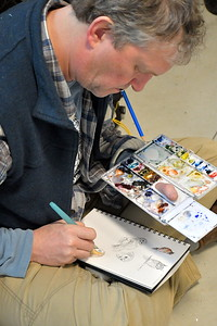 DSC_5434 Michael Boardman, from North Yarmouth, Maine, scetches different owls during a lecture