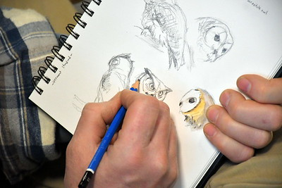 DSC_5456 michael  Boardman, of North Yarmouth, maine,,scetches owls during a lecture