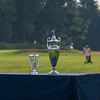 The winner's trophies on #1 tee box during the final round
