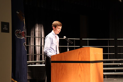 """Caleb Fausnaught speaks on the """"character"""" pillar of the NJHS."""