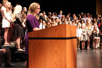 NJHS advisor Laura Garside addresses the crowd as she closes out the ceremony.