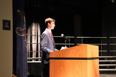 """Chase Bower speaks on the """"scholarship"""" pillar of the NJHS."""