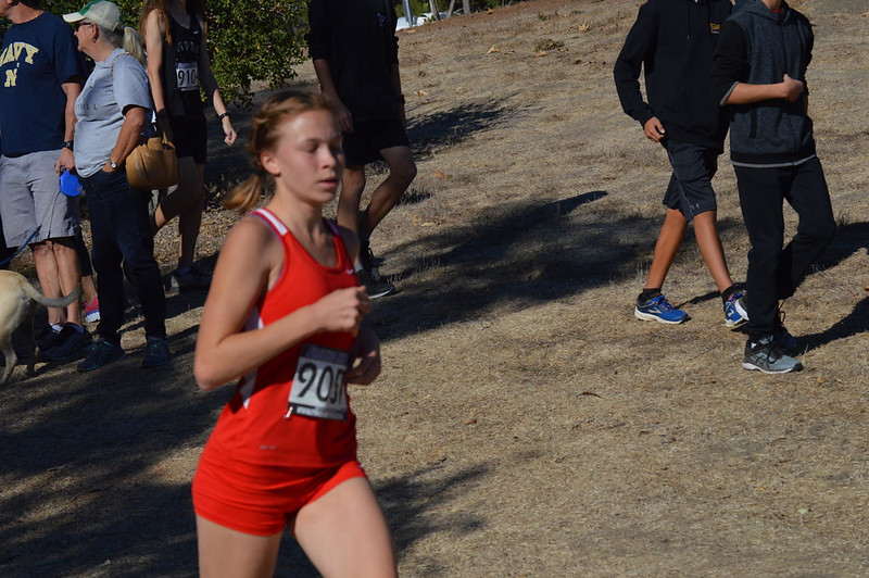Freshman cross country runner Lauren Suppe records the fastest time among Fallbrook High runners at the league championship meet, completing the 3.08-mile course at Guajome Park in 21:36.2. Adrienne Petersen and Daniel Martinez photos