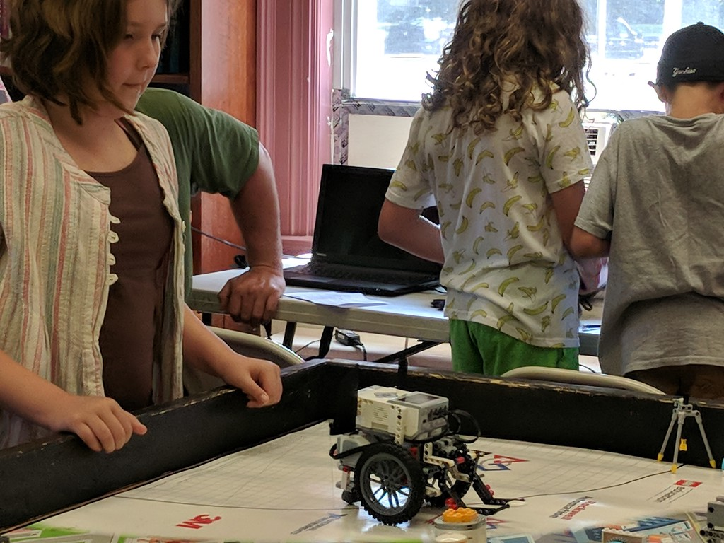 . Leah McDonald - Oneida Daily Dispatch Team EV3N8\'s Grace Roydhouse, 11, takes part in the Oneida Public Library\'s Lego robotics summer camp on Friday, Aug. 24, 2018.