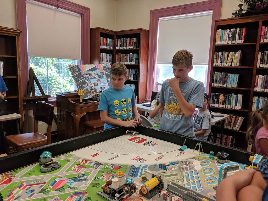 . Leah McDonald - Oneida Daily Dispatch Team Pitchfork\'s Spencer Tifft, 12, right, and Sullivan Tifft, 11, take part in the Oneida Public Library\'s Lego robotics summer camp on Friday, Aug. 24, 2018.