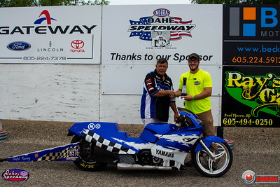 Rodney Hopf, Huron, SD  - Winner - Oahe Speedway SA Transportation Bike/Sled Pepsi Points Race #7