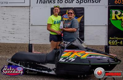 Kimberlee Geuther, Fort Pierre, SD - Winner - Oahe Speedway Bike/Sled Shootout