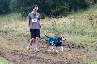 Zack Zahara walks along the 5K trail with Leonard at the 8th Annual Lucy Mac 5K9 race on Sunday, Oct. 7. Nancy Nutile-McMenemy photograph.