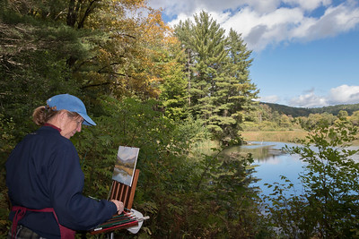 shumskis01-Newbury_NH_artist_Debbie_Campbell_working_on_a_scene_overlooking_the_Ottauquechee 2