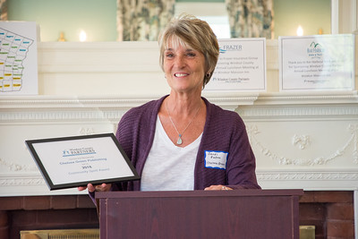 Sandi Eaton accepts the 2018 Community Spirit Award on behalf of Chelsea green Publishing. Nancy Nutile-McMenemy photograph.