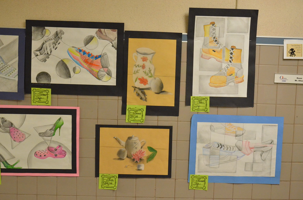 . Leah McDonald - Oneida Daily Dispatch Student art on display at the Oneida City School District\'s district-wide art show at Otto Shortell Middle School on Tuesday, March 20, 2018. The show runs until April.