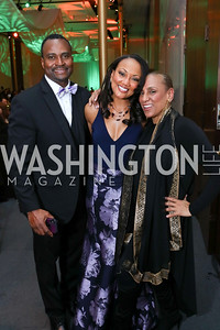 Dallas Harrell and Linda-Denise Fisher-Harrell, Sarita Allen. Photo by Tony Powell. 2018 Alvin Ailey DC Gala. Kennedy Center. February 6, 2018