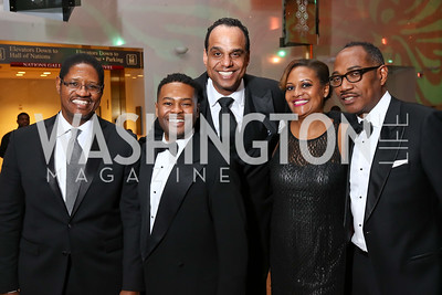 William Clyburn, Alix Dejean, Ed Hubbard, Chinyere Hubbard, Yelberton Watkins. Photo by Tony Powell. 2018 Alvin Ailey DC Gala. Kennedy Center. February 6, 2018