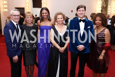 Bennett Rink, Daria Wallach, Sela Collins, Debra Lee, Lyndon Boozer, Gina Adams. Photo by Tony Powell. 2018 Alvin Ailey DC Gala. Kennedy Center. February 6, 2018