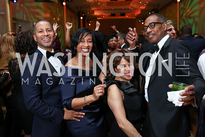 Darrell and Manasses Campbell, Leah Upshaw, Yelberton Watkins. Photo by Tony Powell. 2018 Alvin Ailey DC Gala. Kennedy Center. February 6, 2018