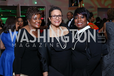 Beverly Perry, Debbi Jarvis, Monica Thompson. Photo by Tony Powell. 2018 Alvin Ailey DC Gala. Kennedy Center. February 6, 2018