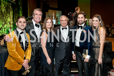 Jarred Zuccari, Scott Stewart, Lisa Zuccari, Alan Zuccari, Jason Zuccari, Sara Zuccari. Photo by Tony Powell. 2018 Capital Caring Gala. Marriott Marquis. November 17, 2018